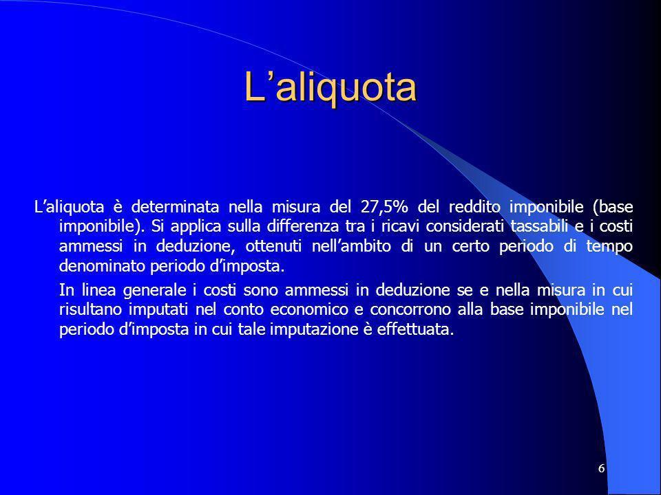 6 Laliquota Laliquota è determinata nella misura del 27,5% del reddito imponibile (base imponibile). Si applica sulla differenza tra i ricavi consider