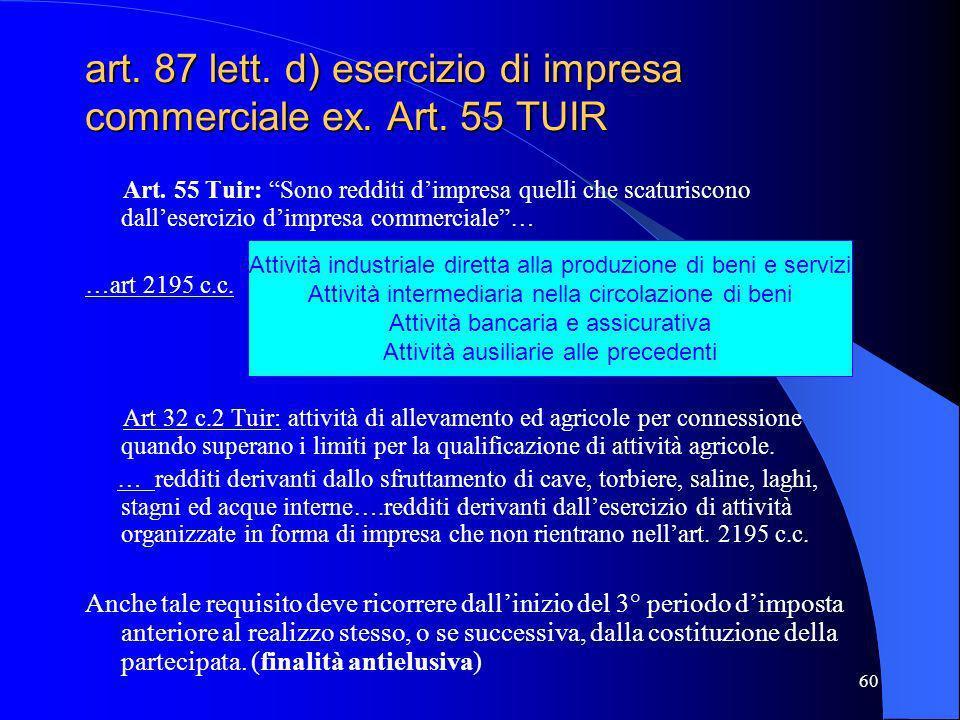 60 art. 87 lett. d) esercizio di impresa commerciale ex. Art. 55 TUIR Art. 55 Tuir: Sono redditi dimpresa quelli che scaturiscono dallesercizio dimpre