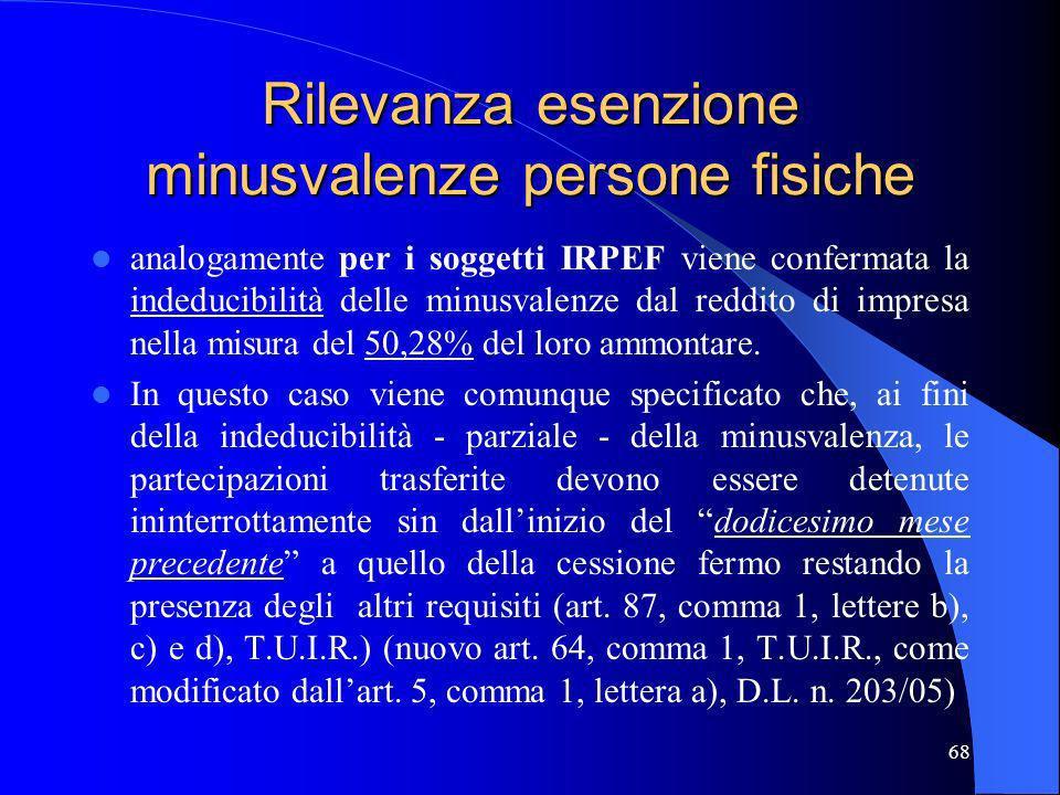 68 Rilevanza esenzione minusvalenze persone fisiche analogamente per i soggetti IRPEF viene confermata la indeducibilità delle minusvalenze dal reddit