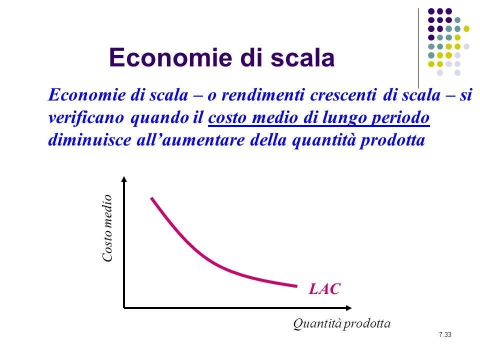 7.33 Economie di scala Economie di scala – o rendimenti crescenti di scala – si verificano quando il costo medio di lungo periodo diminuisce allaument