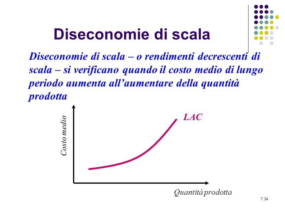 7.34 Diseconomie di scala Diseconomie di scala – o rendimenti decrescenti di scala – si verificano quando il costo medio di lungo periodo aumenta alla