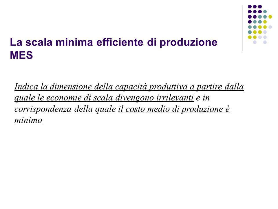 La scala minima efficiente di produzione MES Indica la dimensione della capacità produttiva a partire dalla quale le economie di scala divengono irril