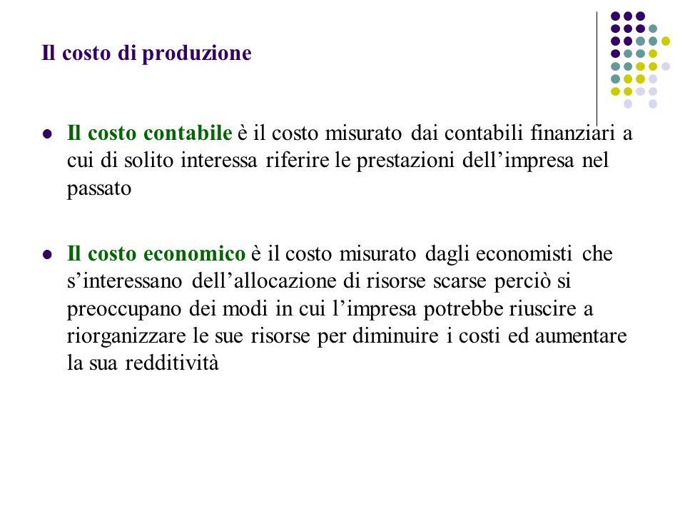 Il costo di produzione Il costo contabile è il costo misurato dai contabili finanziari a cui di solito interessa riferire le prestazioni dellimpresa n