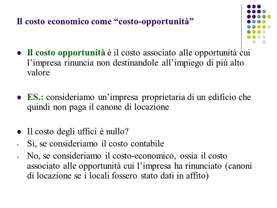 Il costo economico come costo-opportunità Il costo opportunità è il costo associato alle opportunità cui limpresa rinuncia non destinandole allimpiego