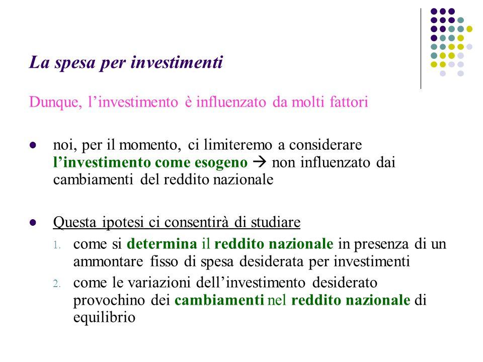 La spesa per investimenti Dunque, linvestimento è influenzato da molti fattori noi, per il momento, ci limiteremo a considerare linvestimento come esogeno non influenzato dai cambiamenti del reddito nazionale Questa ipotesi ci consentirà di studiare 1.