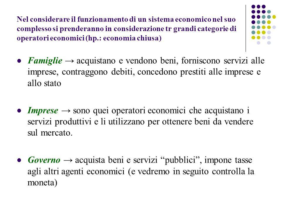 Nel considerare il funzionamento di un sistema economico nel suo complesso si prenderanno in considerazione tr grandi categorie di operatori economici