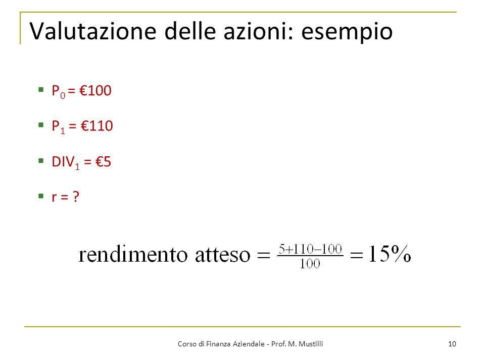 10Corso di Finanza Aziendale - Prof. M. Mustilli Valutazione delle azioni: esempio P 0 = 100 P 1 = 110 DIV 1 = 5 r = ?