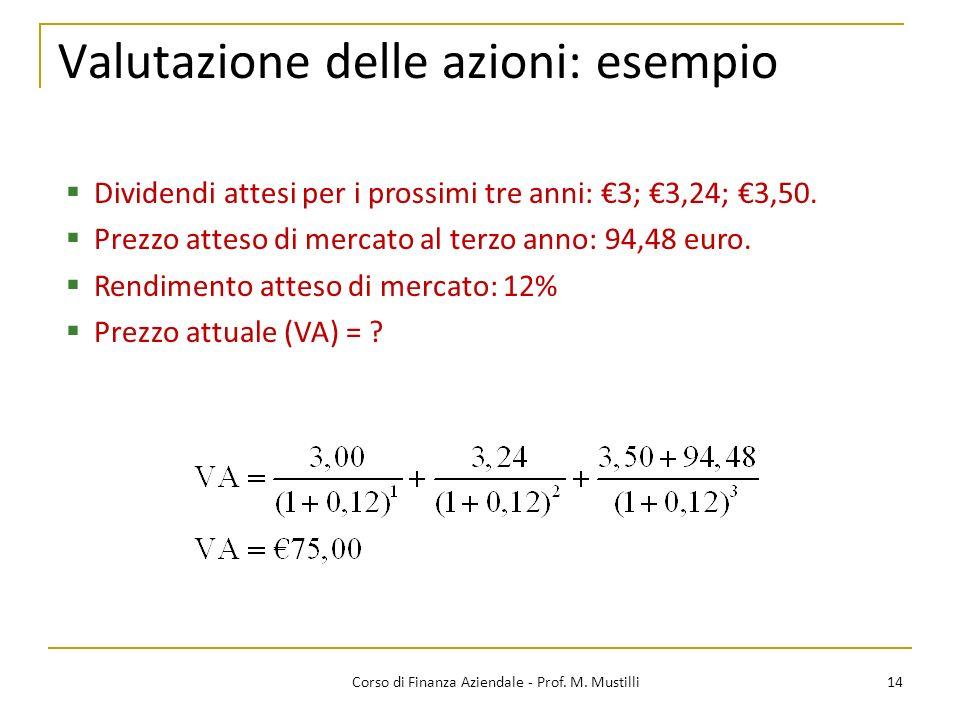14Corso di Finanza Aziendale - Prof. M. Mustilli Valutazione delle azioni: esempio Dividendi attesi per i prossimi tre anni: 3; 3,24; 3,50. Prezzo att