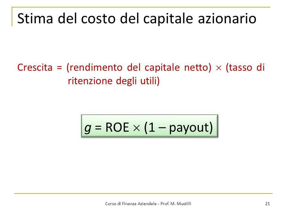 Stima del costo del capitale azionario 21Corso di Finanza Aziendale - Prof. M. Mustilli Crescita = (rendimento del capitale netto) (tasso di ritenzion