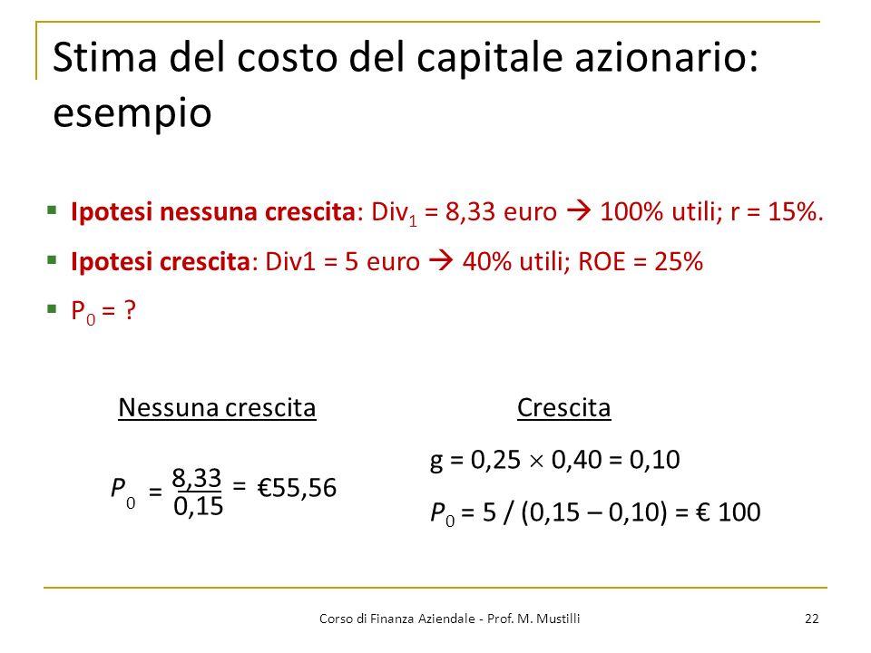 Stima del costo del capitale azionario: esempio 22Corso di Finanza Aziendale - Prof. M. Mustilli P 0 8,33 = = 0,15 55,56 Nessuna crescitaCrescita g =