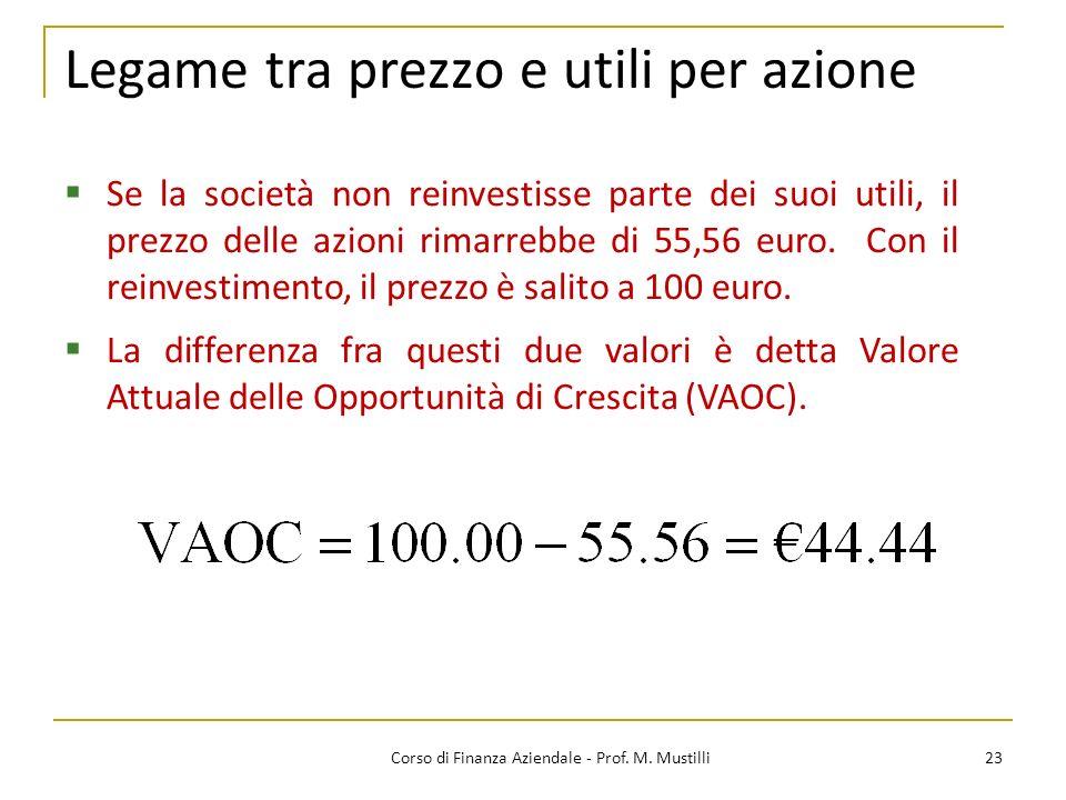 23Corso di Finanza Aziendale - Prof. M. Mustilli Legame tra prezzo e utili per azione Se la società non reinvestisse parte dei suoi utili, il prezzo d