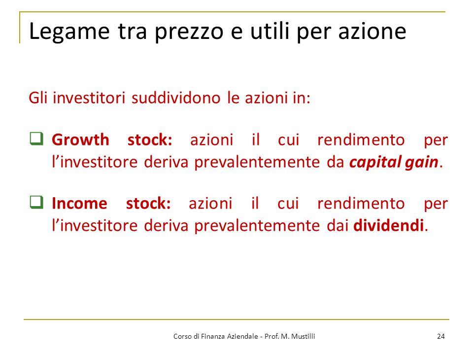 24Corso di Finanza Aziendale - Prof. M. Mustilli Legame tra prezzo e utili per azione Gli investitori suddividono le azioni in: Growth stock: azioni i