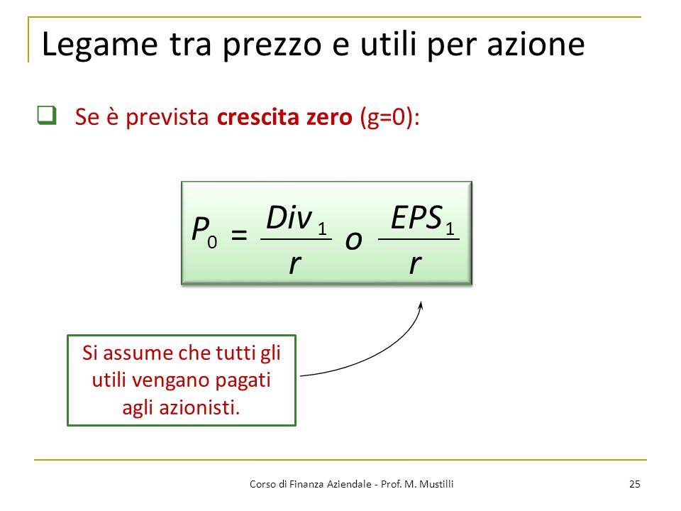 25Corso di Finanza Aziendale - Prof. M. Mustilli Legame tra prezzo e utili per azione Se è prevista crescita zero (g=0): Div r EPS r P o = 0 11 Si ass