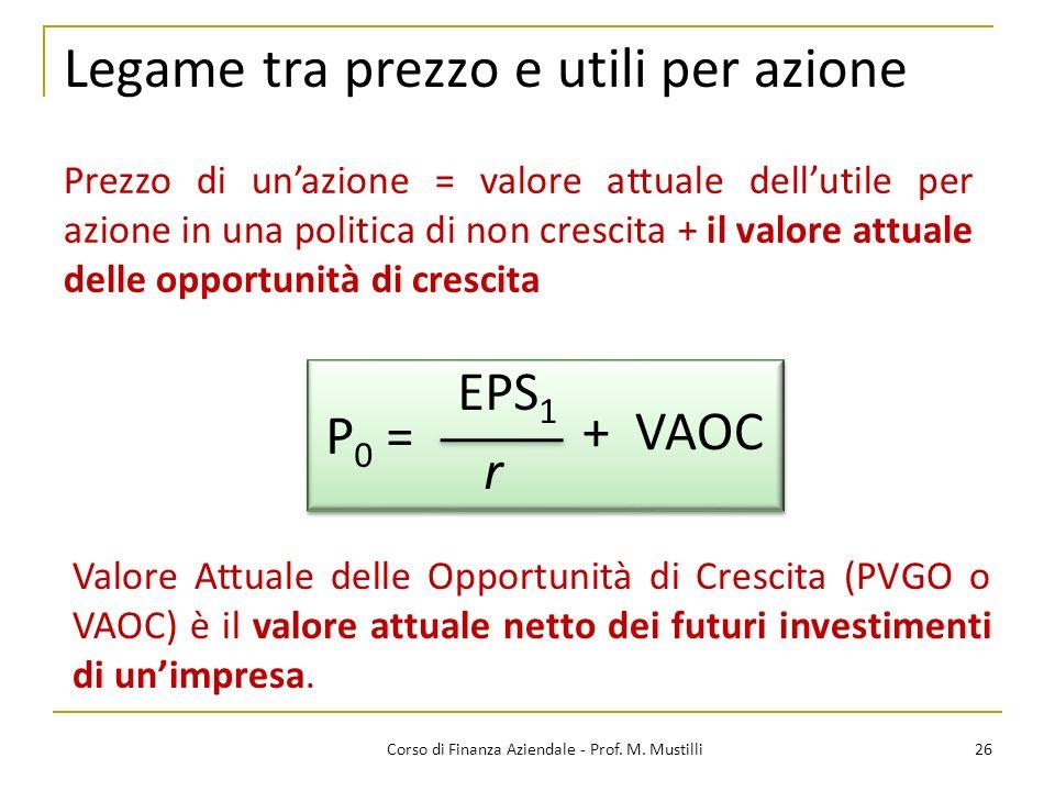 26Corso di Finanza Aziendale - Prof. M. Mustilli Legame tra prezzo e utili per azione Prezzo di unazione = valore attuale dellutile per azione in una