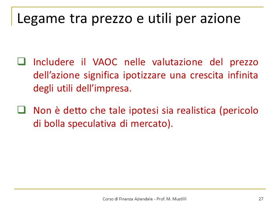 27Corso di Finanza Aziendale - Prof. M. Mustilli Legame tra prezzo e utili per azione Includere il VAOC nelle valutazione del prezzo dellazione signif