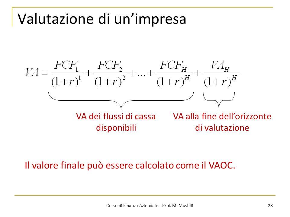 28Corso di Finanza Aziendale - Prof. M. Mustilli Valutazione di unimpresa VA dei flussi di cassa disponibili VA alla fine dellorizzonte di valutazione