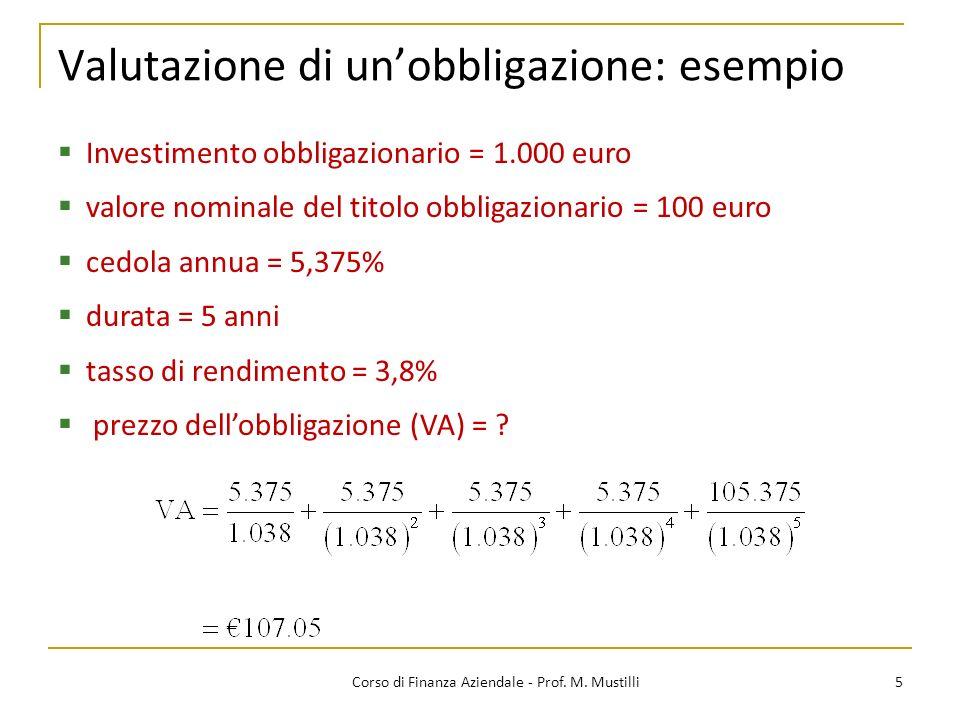 Valutazione di unobbligazione: esempio 5Corso di Finanza Aziendale - Prof. M. Mustilli Investimento obbligazionario = 1.000 euro valore nominale del t