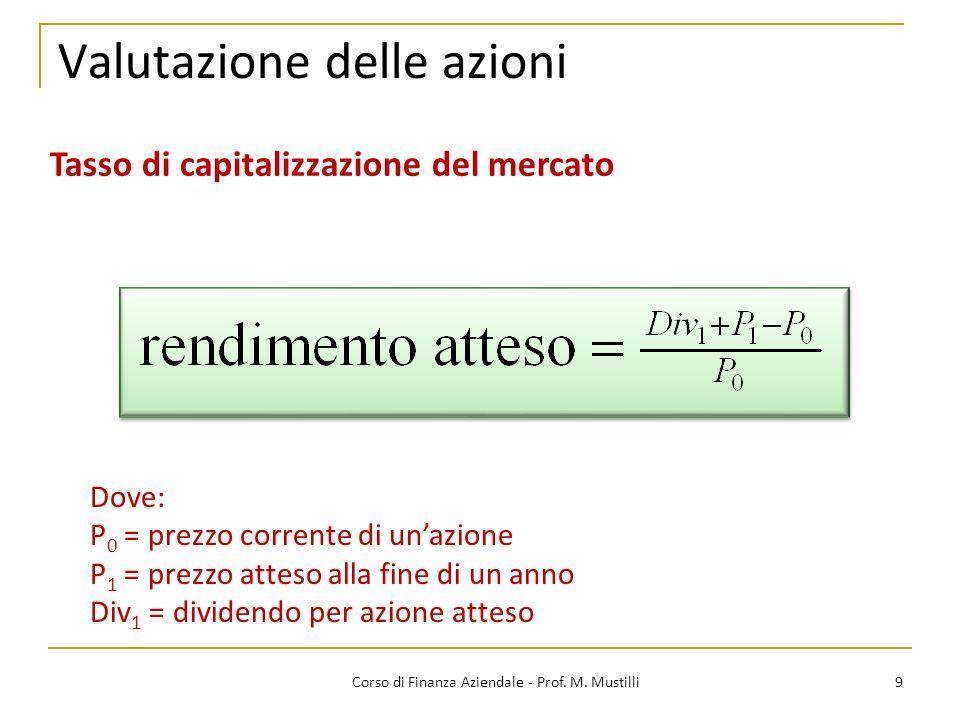 9Corso di Finanza Aziendale - Prof. M. Mustilli Valutazione delle azioni Tasso di capitalizzazione del mercato Dove: P 0 = prezzo corrente di unazione