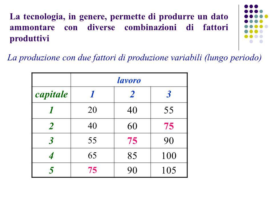 lavoro capitale123 1 20 4055 2 40 6075 3 55 7590 4 65 85100 5 75 90105 La tecnologia, in genere, permette di produrre un dato ammontare con diverse combinazioni di fattori produttivi La produzione con due fattori di produzione variabili (lungo periodo)