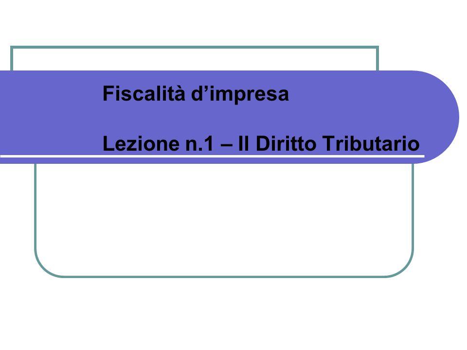 Fiscalità dimpresa Lezione n.1 – Il Diritto Tributario