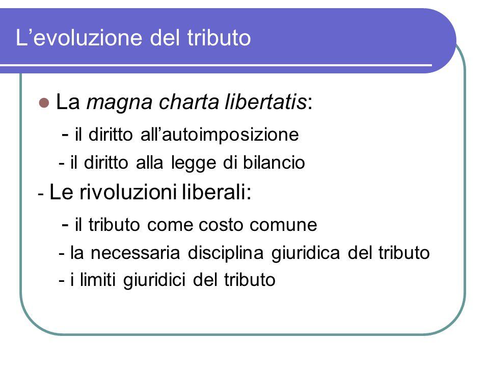 Levoluzione del tributo La magna charta libertatis: - il diritto allautoimposizione - il diritto alla legge di bilancio - Le rivoluzioni liberali: - i