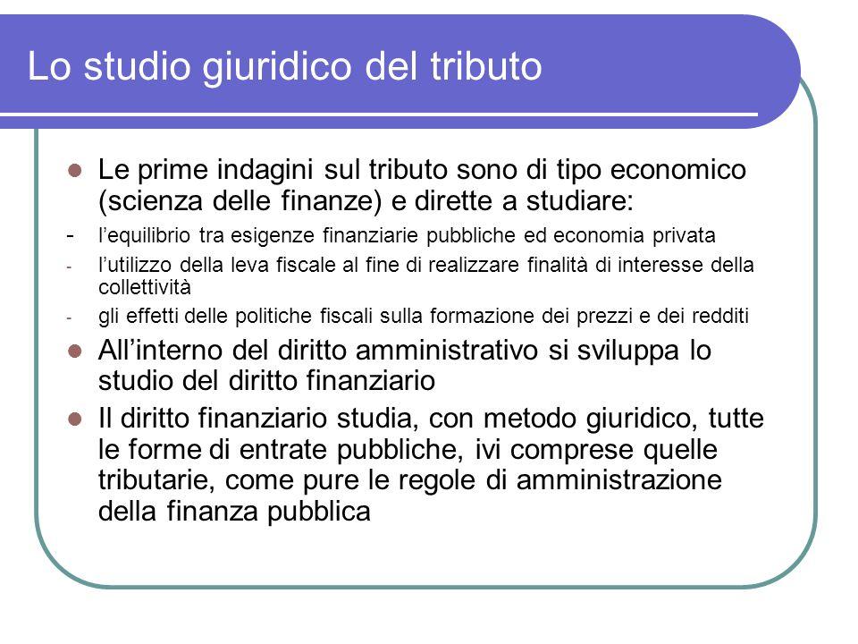 Lo studio giuridico del tributo Le prime indagini sul tributo sono di tipo economico (scienza delle finanze) e dirette a studiare: - lequilibrio tra e