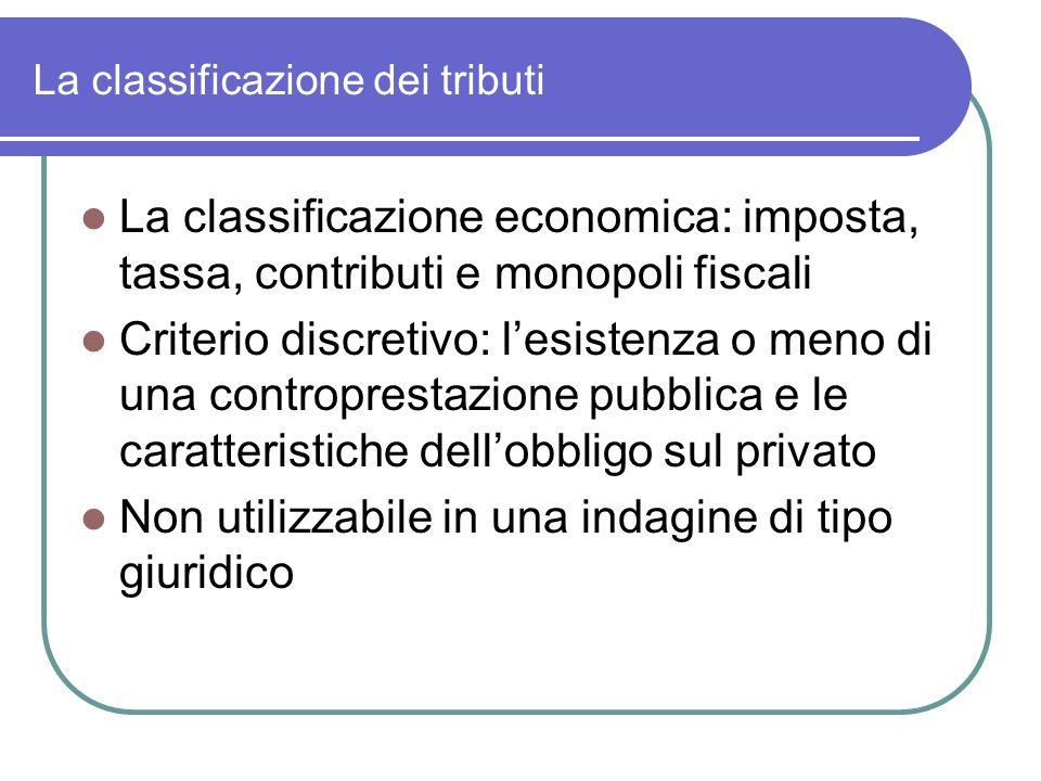 La classificazione dei tributi La classificazione economica: imposta, tassa, contributi e monopoli fiscali Criterio discretivo: lesistenza o meno di u