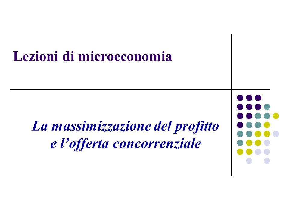 Lezioni di microeconomia La massimizzazione del profitto e lofferta concorrenziale