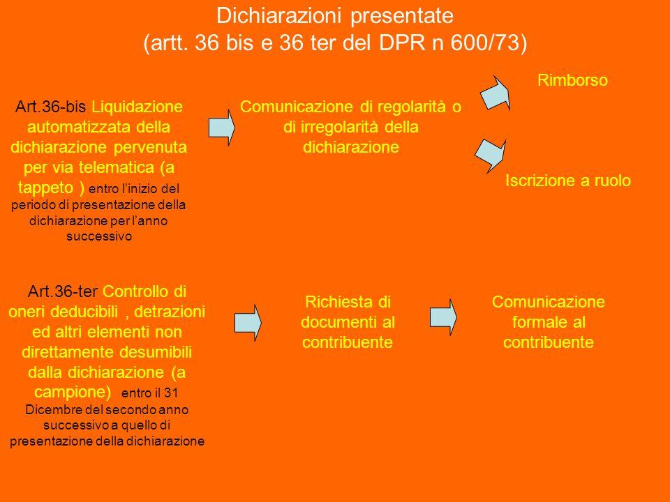 Dichiarazioni presentate (artt. 36 bis e 36 ter del DPR n 600/73) Art.36-bis Liquidazione automatizzata della dichiarazione pervenuta per via telemati