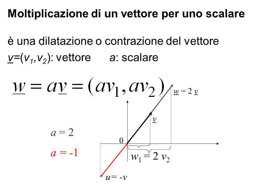 Moltiplicazione di un vettore per uno scalare è una dilatazione o contrazione del vettore v=(v 1,v 2 ): vettore a: scalare w = 2 v 0 v a = 2 a = -1 w 1 = 2 v 2 u= -v