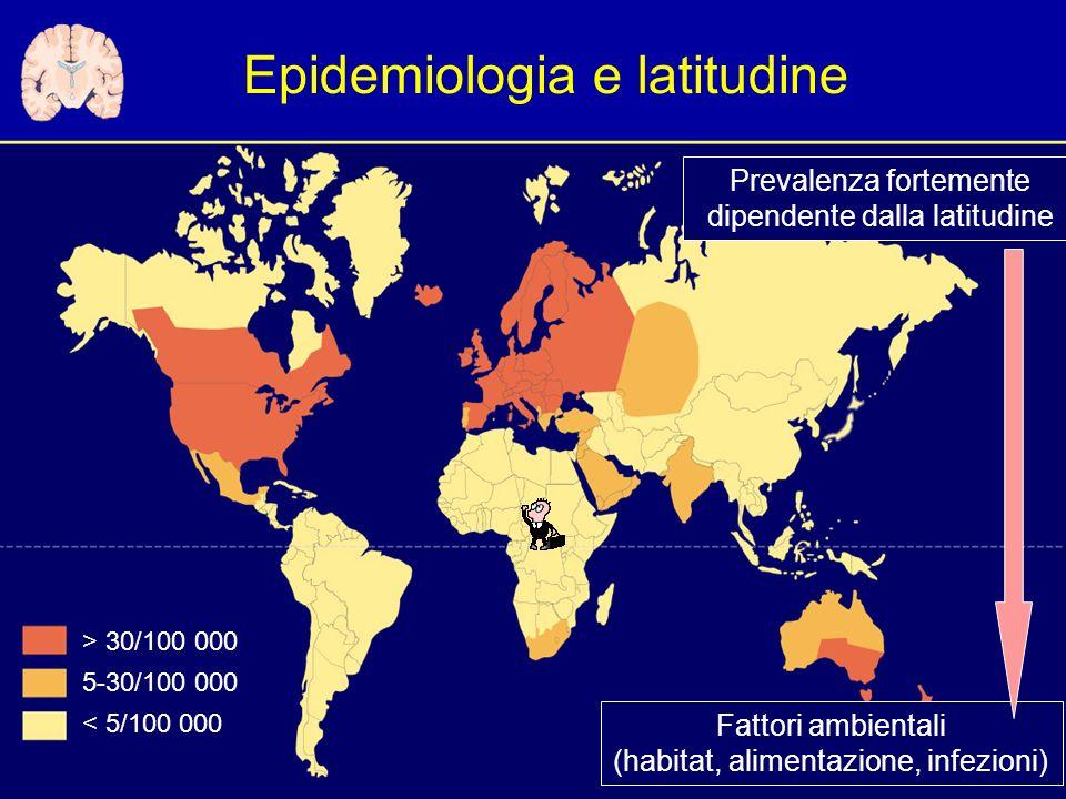 Epidemiologia e latitudine > 30/100 000 5-30/100 000 < 5/100 000 Fattori ambientali (habitat, alimentazione, infezioni) Prevalenza fortemente dipendente dalla latitudine
