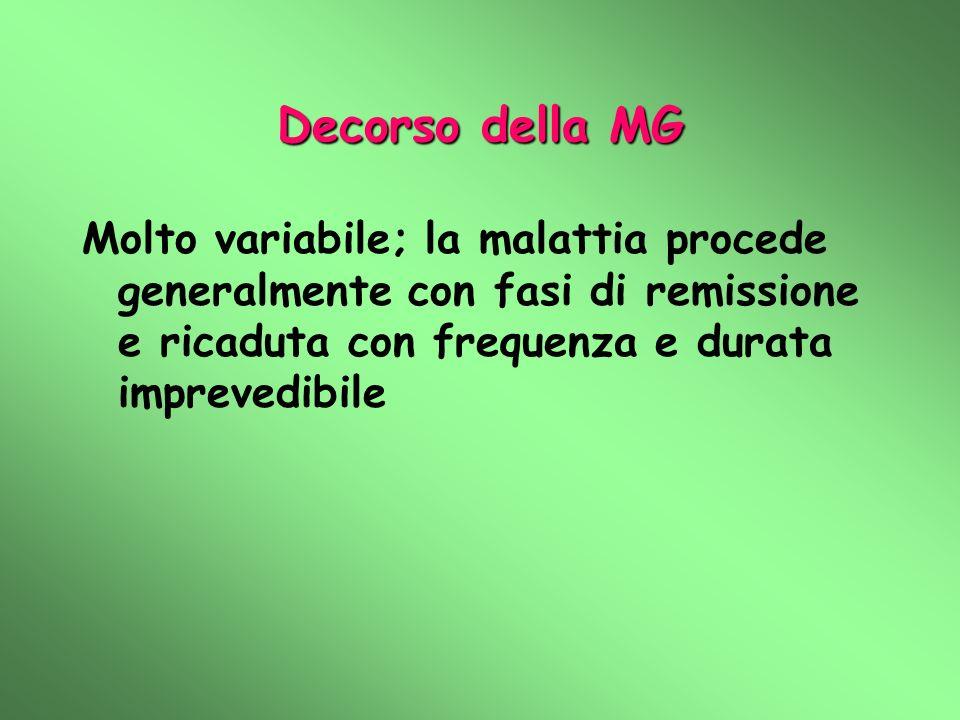 Decorso della MG Molto variabile; la malattia procede generalmente con fasi di remissione e ricaduta con frequenza e durata imprevedibile
