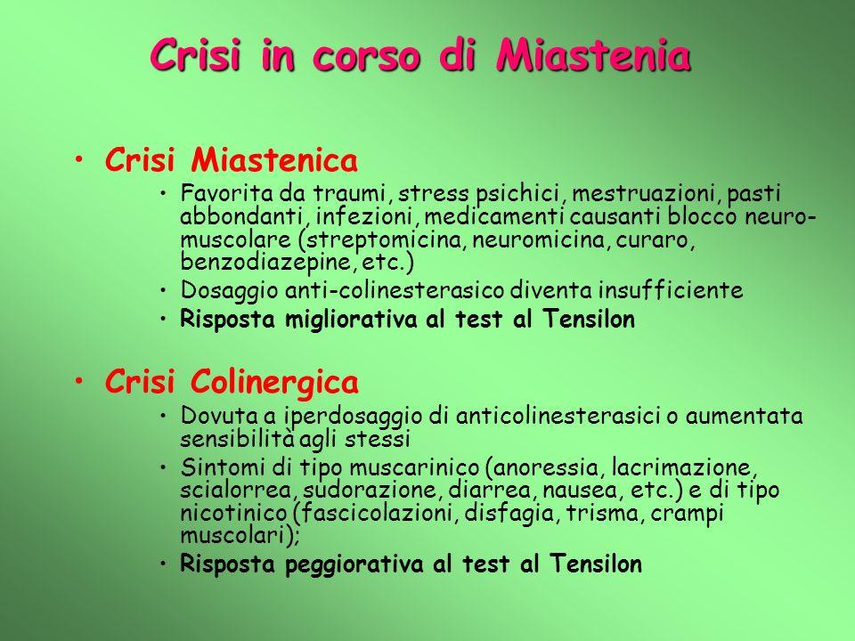 Crisi in corso di Miastenia Crisi Miastenica Favorita da traumi, stress psichici, mestruazioni, pasti abbondanti, infezioni, medicamenti causanti bloc