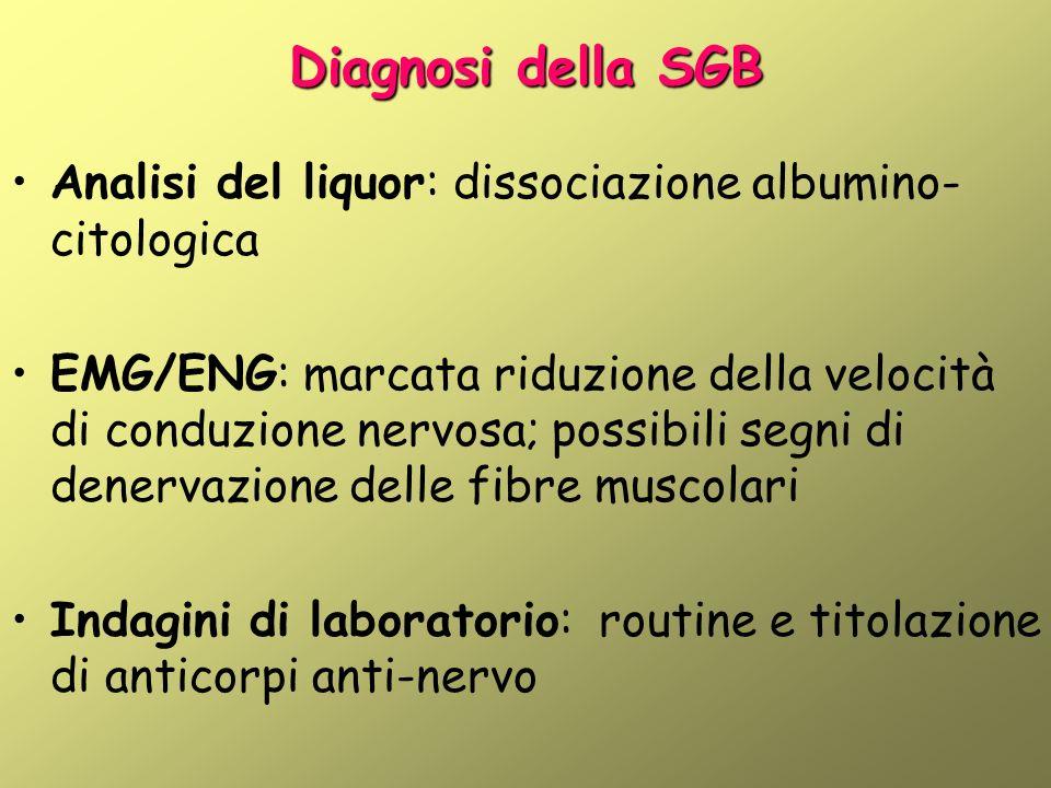 Diagnosi della SGB Analisi del liquor: dissociazione albumino- citologica EMG/ENG: marcata riduzione della velocità di conduzione nervosa; possibili segni di denervazione delle fibre muscolari Indagini di laboratorio: routine e titolazione di anticorpi anti-nervo