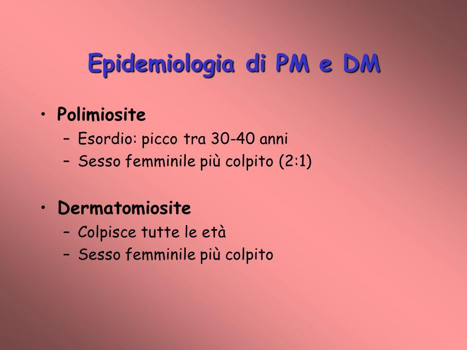 Epidemiologia di PM e DM Polimiosite –Esordio: picco tra 30-40 anni –Sesso femminile più colpito (2:1) Dermatomiosite –Colpisce tutte le età –Sesso femminile più colpito