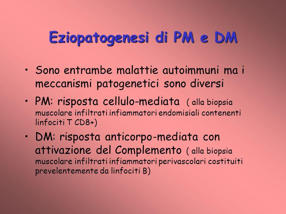 Eziopatogenesi di PM e DM Sono entrambe malattie autoimmuni ma i meccanismi patogenetici sono diversi PM: risposta cellulo-mediata ( alla biopsia muscolare infiltrati infiammatori endomisiali contenenti linfociti T CD8+) DM: risposta anticorpo-mediata con attivazione del Complemento ( alla biopsia muscolare infiltrati infiammatori perivascolari costituiti prevelentemente da linfociti B)