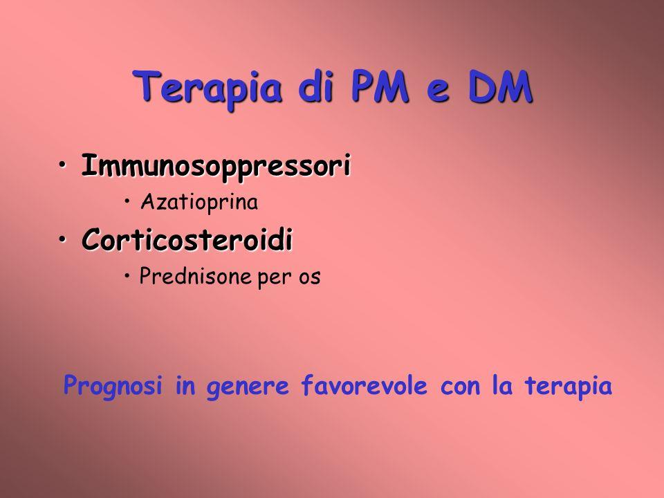 Terapia di PM e DM ImmunosoppressoriImmunosoppressori Azatioprina CorticosteroidiCorticosteroidi Prednisone per os Prognosi in genere favorevole con l