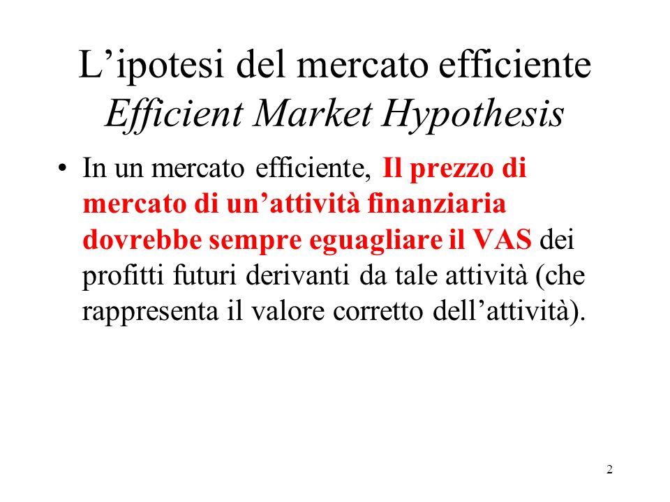 Lipotesi del mercato efficiente Efficient Market Hypothesis In un mercato efficiente, Il prezzo di mercato di unattività finanziaria dovrebbe sempre eguagliare il VAS dei profitti futuri derivanti da tale attività (che rappresenta il valore corretto dellattività).