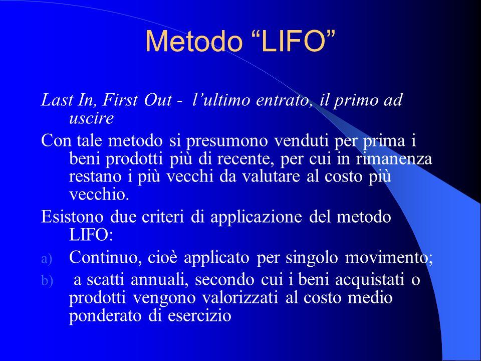 Metodo LIFO Last In, First Out - lultimo entrato, il primo ad uscire Con tale metodo si presumono venduti per prima i beni prodotti più di recente, pe
