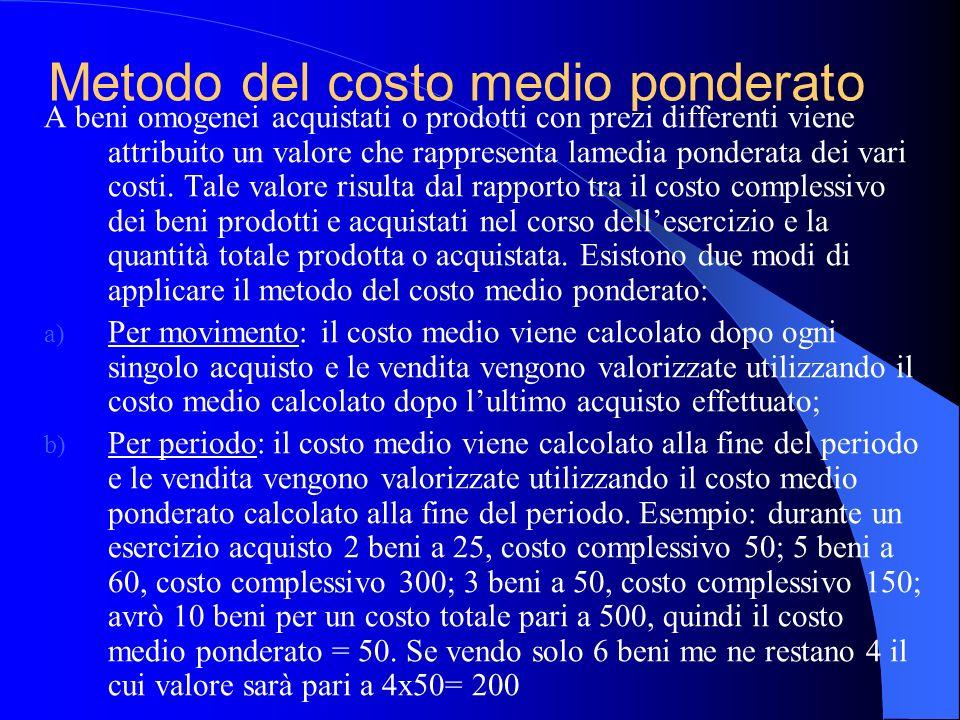 Metodo del costo medio ponderato A beni omogenei acquistati o prodotti con prezi differenti viene attribuito un valore che rappresenta lamedia pondera