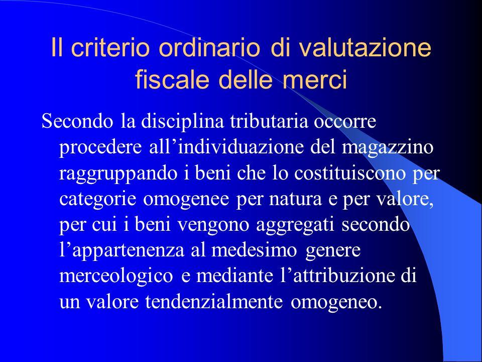 Il criterio ordinario di valutazione fiscale delle merci Secondo la disciplina tributaria occorre procedere allindividuazione del magazzino raggruppan