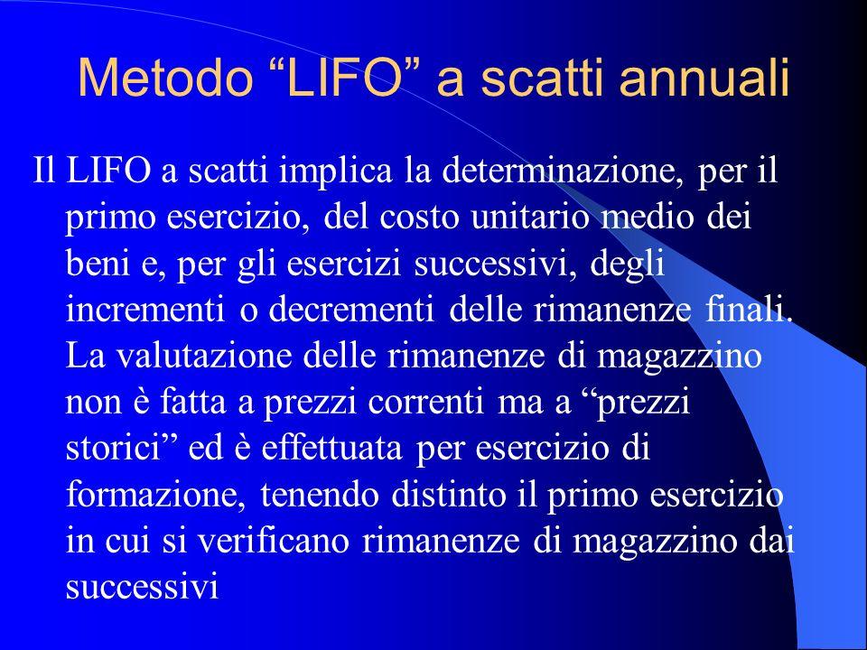 Metodo LIFO a scatti annuali Il LIFO a scatti implica la determinazione, per il primo esercizio, del costo unitario medio dei beni e, per gli esercizi