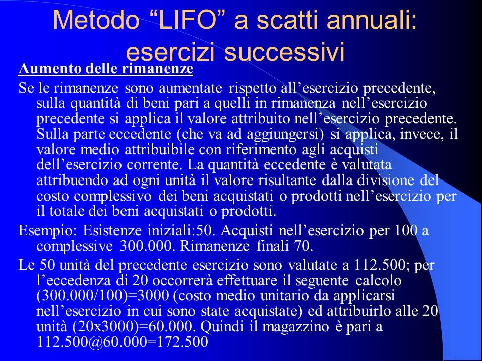 Metodo LIFO a scatti annuali: esercizi successivi Aumento delle rimanenze Se le rimanenze sono aumentate rispetto allesercizio precedente, sulla quant