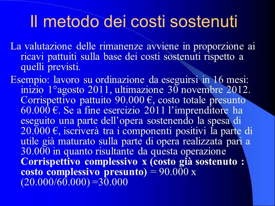 Il metodo dei costi sostenuti La valutazione delle rimanenze avviene in proporzione ai ricavi pattuiti sulla base dei costi sostenuti rispetto a quell