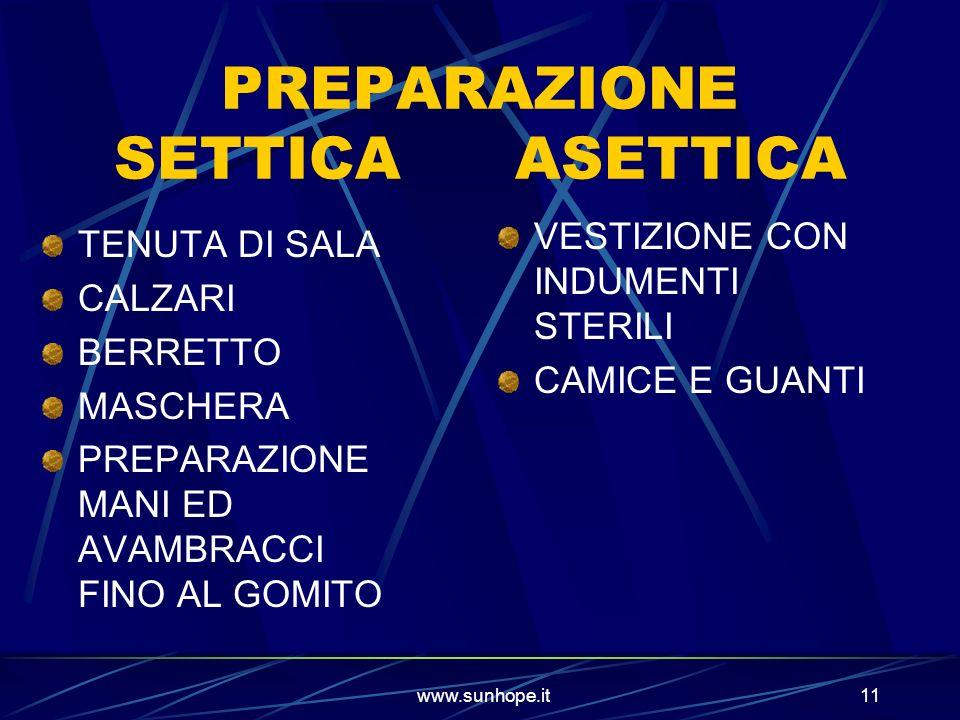 www.sunhope.it11 PREPARAZIONE SETTICA ASETTICA TENUTA DI SALA CALZARI BERRETTO MASCHERA PREPARAZIONE MANI ED AVAMBRACCI FINO AL GOMITO VESTIZIONE CON