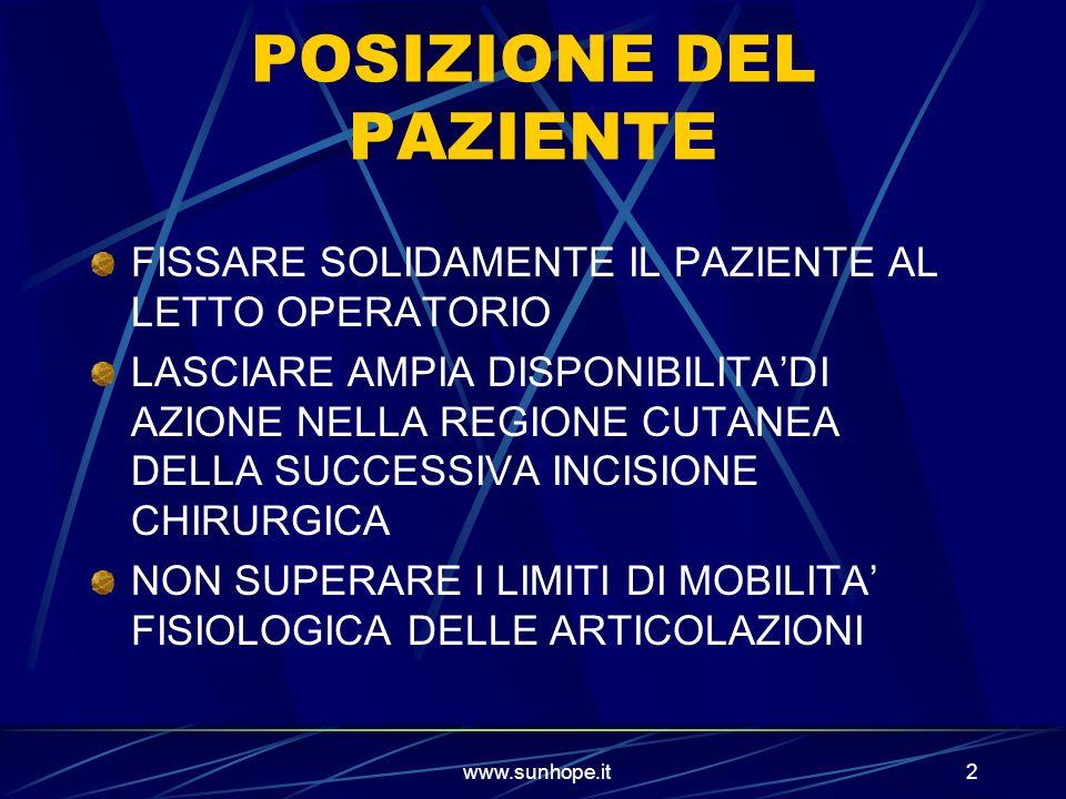 www.sunhope.it2 POSIZIONE DEL PAZIENTE FISSARE SOLIDAMENTE IL PAZIENTE AL LETTO OPERATORIO LASCIARE AMPIA DISPONIBILITADI AZIONE NELLA REGIONE CUTANEA