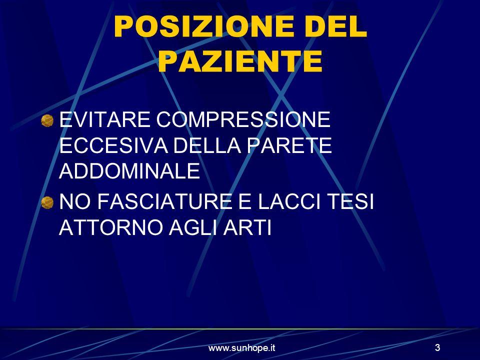 www.sunhope.it3 POSIZIONE DEL PAZIENTE EVITARE COMPRESSIONE ECCESIVA DELLA PARETE ADDOMINALE NO FASCIATURE E LACCI TESI ATTORNO AGLI ARTI