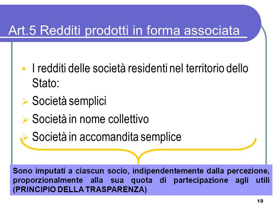 19 Art.5 Redditi prodotti in forma associata I redditi delle società residenti nel territorio dello Stato: Società semplici Società in nome collettivo