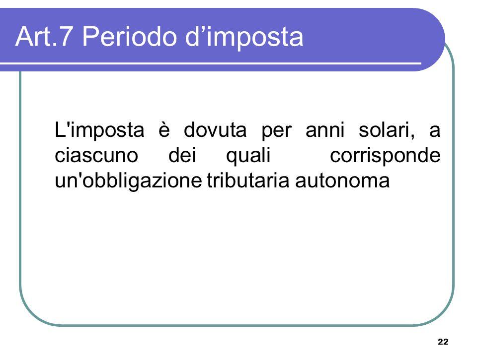 22 Art.7 Periodo dimposta L'imposta è dovuta per anni solari, a ciascuno dei quali corrisponde un'obbligazione tributaria autonoma