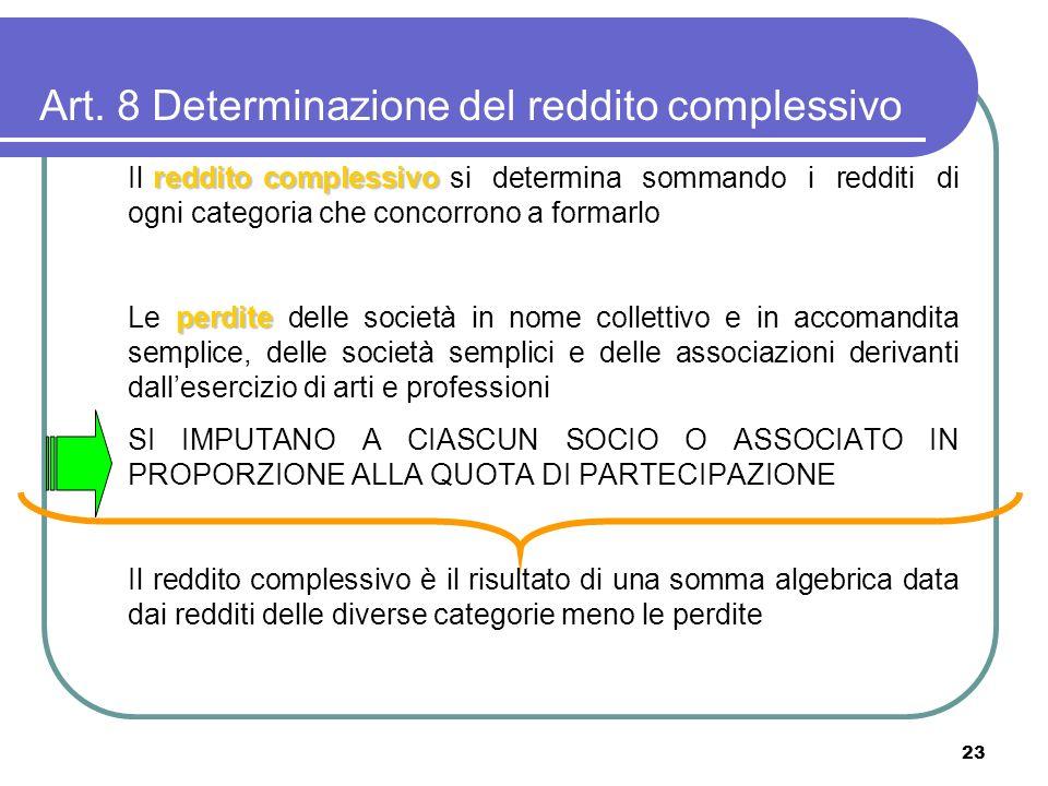 23 Art. 8 Determinazione del reddito complessivo reddito complessivo Il reddito complessivo si determina sommando i redditi di ogni categoria che conc